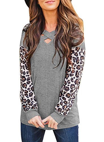 CORAFRITZ Blusa de manga con cuello en V para mujer