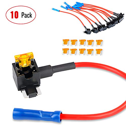 Nilight - 50038R 10 Pack 12V Car Add-a-circuit Fuse TAP Adapter with 5 Amp Low Profile Mini Blade Fuse Set for Cars Trucks Boats