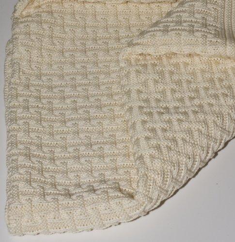 SonnenStrick 3009002 Babydecke/Kuscheldecke/Strickdecke aus 100% Bio Baumwolle kba Made in Germany, 100 x 90 cm, natur