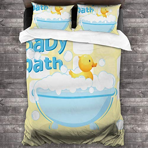 AUISS King Size Bedding Set Rubber Duckling Swims in Bathtub Quilt Cover Bedroom Comforters Zipper Closure Sheet Two Pillow Shams Durable Bedspread Coverlet Hotel Full Bedding Set