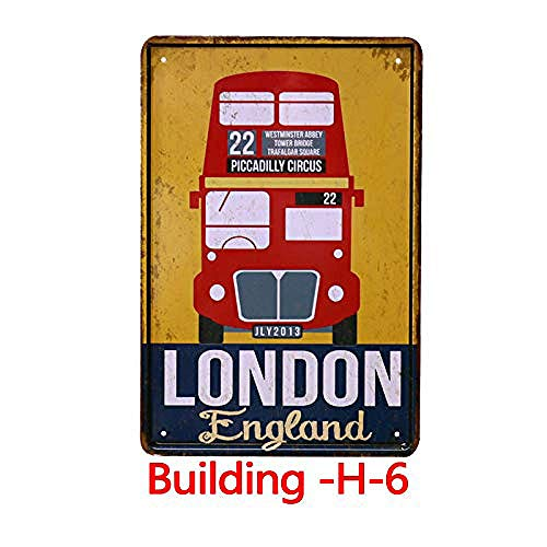 Fluse London Double-Decker bus Souvenir Vintage Metal Art Chic Retro metalen borden 8 x 12 inch