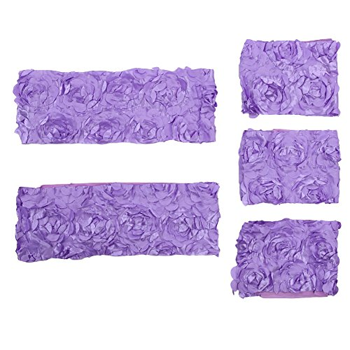 Matefield 5X Chair Back Cover Rose Flower Sash Band Ribbon for Wedding(Violet)