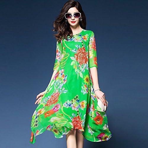 JIALELE Boho Femme Mousseline lache Robe Swing - Floral, Impression Mousseline élégant