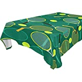 Chen Miranda Home Decor Tennis Rackets Balls Pattern Spillproof Oblong Tablecloth 54x72 Inches Square Polyester Dust Proof Table Cloth Cover for Dinner Kitchen Living Party Decor