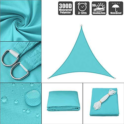 ZHENN Toldo Vela de Sombra Impermeable Triangular Shack Toldo Vela Transpirable Aislamiento de Calor para Patio de Jardín Terraza Camping Azul