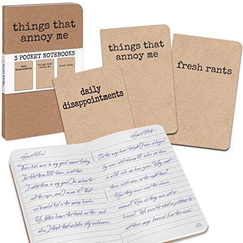 Archie McPhee 3 Grump Notebooks, Things That Annoy Me, 3 Pack