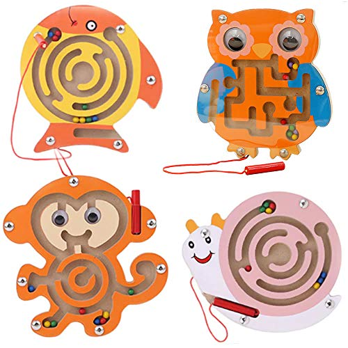 Wooden Magnetic Maze Toys Montessori Labyrinth STEM Activity Puzzle Fine Motor Skill for Preschool Animals Birthday Party Favor Gift for Boy and Girl - Perfect for 3 4 5 and 6 Year Old