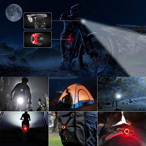 LIFEBEE LED Fahrradlicht, USB Fahrradbeleuchtung Fahrradlicht Vorne Rücklicht Set, Wasserdicht Fahrradlichter Set Fahrrad Licht Fahrradleuchtenset Fahrradlampe Frontlicht mit 2 Licht-Modi - 7