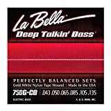 La Bella Gold White Nylon Tape Wound Light 43-135 6 String Bass Set