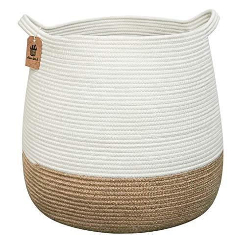 Goodpick Cesta de cuerda de algodón para la colada – Cesta redonda tejida de yute cesta de mimbre natural – Cesta grande de almacenamiento de yute con asas para mantas, juguetes, 46 x 38 x 41 cm