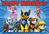 8.3 x 11.7 Inch Edible Square Cake Toppers – Paw Patrol Mighty Pups Themed Birthday Party Collection of Edible Cake Decorations