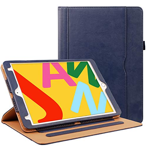 ZoneFoker iPad Air 3 10.5 inch 2019 Leather Case, 360 Protection Multi-Angle Viewing Auto Sleep/Wake Folio Stand Cases with Pencil Holder for iPad Air3 3rd Generation - Blue