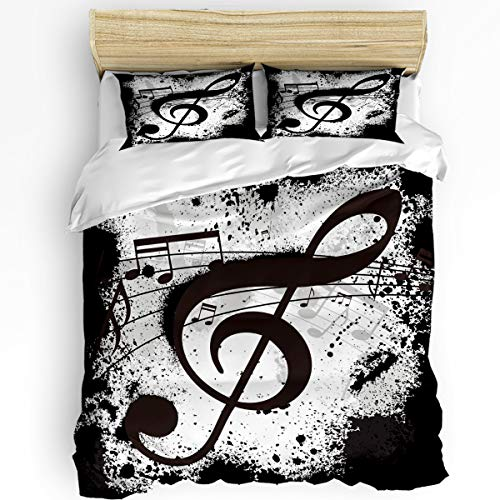 Image Duvet 3Pieces Bedding Sets Home Comforter Music Bedspread Bed Sheet for Full Size Adult Kids,Flat Sheet,2 Pillow Shams Set- Musical Note Black White Old