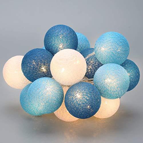 Guirlande lumineuse de 6 cm de diamètre en coton à piles, boule de coton, éclairage de Noël pour mariage, chambre [Classe énergétique A+++] (bleu océan, 3 m/20 lumières)
