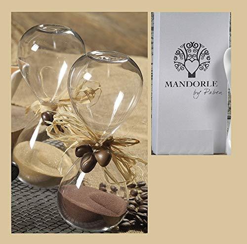 Mandorle by Paben Lot de 2 sabliers en verre de 16 cm avec décoration en porcelaine, emballés dans une élégante boîte cadeau.
