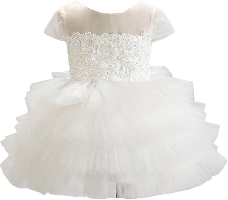 Avril Dress Short Sleeve Ball Gown Layered Appliques Short Flower Girl Dress