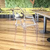 EMMA + OLIVER Oval Back Ghost Chair with Arms in Transparent Crystal