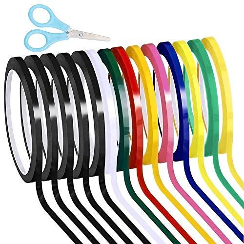 Leasinder 14 rollos de cinta adhesiva de pizarra blanca de 1/4 a rayas de cinta de borrado en seco, cinta adhesiva de vinilo Mara con una tijera, 166 pies por rollo (multicolor)