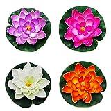 DierCosy Tools Flores flotantes Artificiales Flor de Lotus Flotante de Espuma Hojas de Lotus Pond Decor-4 Pieza Flotante Lotus