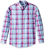 IZOD Men's Breeze Long Sleeve Button Down Plaid Shirt, Hollyhock, Large