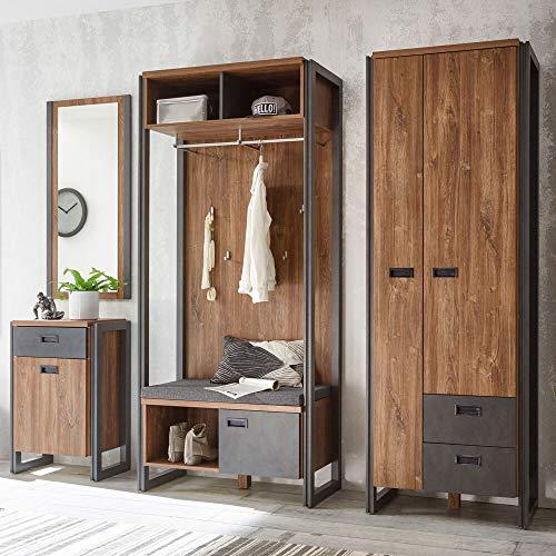 Hal garderobe complete set in industrieel design voorhoofd-oak-eiken antraciet compacte garderobe & zitbank kussen plankkast en commode & wandspiegel