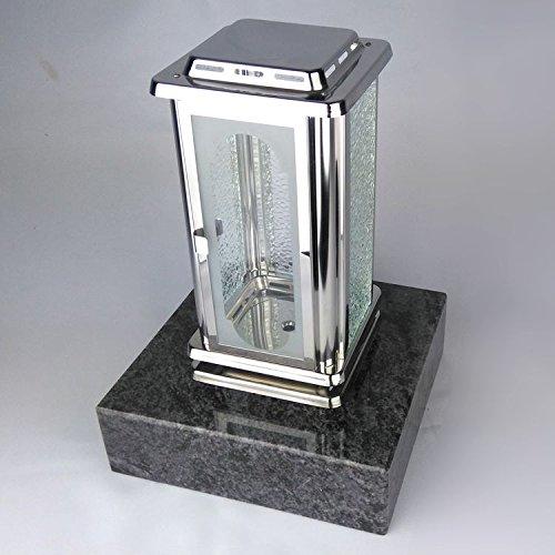designgrab Grablampe Royal aus Edelstahl mit Granitsockel aus Granit Orion Blue/Vizac Blue