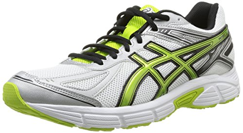 Asics Patriot 7 - Zapatillas de running para hombre, color blanco / plata / verde, talla 44.5
