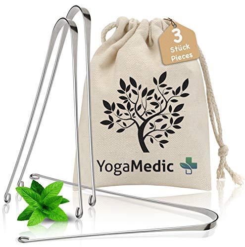 YogaMedic® Zungenreiniger [3x] 100% Edelstahl gegen Mundgeruch - natürlich antimikrobiell - Ayurveda Zungenschaber inkl. Baumwollbeutel, Verpackung 100% recycled, ohne Plastik
