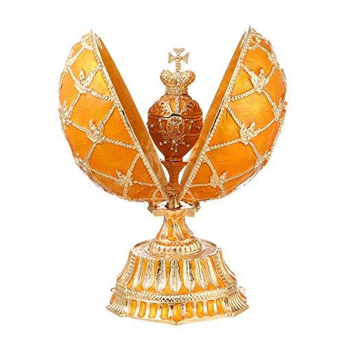 Russische Fabergé-Stil Ei Imperial Eagle & der Krone der Kaiser mit Uhr 15 cm gelb