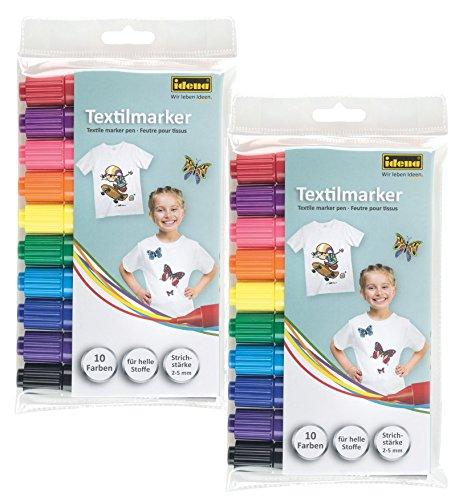 Idena 60035 - Textilmarker für helle Stoffe, 20er Set (Textilmarker, 2 x 10 Farben)