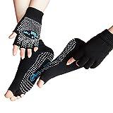 LJ Sport da donna ragazza Yoga Socks e guanti Set calze di cotone antiscivolo non Slip Skid Half Finger Guanti (Nero)