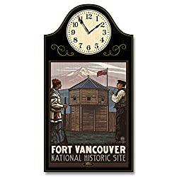 Fort Vancouver National Historic Site Trappers Vancouver Washington Wood Wall Clock for Home & Office from Original Travel Artwork by Artist Paul A. Lanquist 9 x 12 with 5 Clock Face.