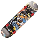 FXMJ Complete Skateboard for Beginners, Double Kick 7-Layer Maple Adult Skill Skateboard, Anti-Slip Shock Absorption and Low Noise Professional Skateboard,C