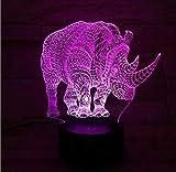 Animal Rhinoceros 3D Lámpara Iluminación para ni?os LED Mood Night Light Multicolor Decoración para el hogar Kid Toy Gift Child