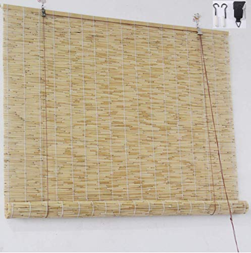 YANJ Natural Reed Curtain,Vintage Decoration Bamboo Roller Blind - Curtains,Sunshade Dustproof Bamboo Blind,Anti-UV Indoor Patio Curtains,Customizable Size,for Outoor/Indoor (Size : 70x140cm/28x55in)
