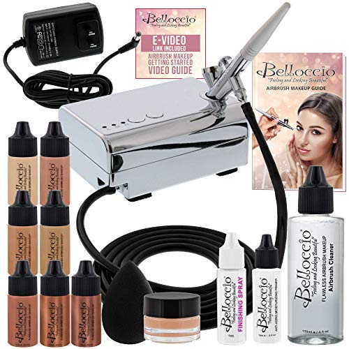 Belloccio Professional Beauty Airbrush Cosmetic Makeup System with 4 Medium Shades of Foundation in 1/4 Ounce Bottles - Kit Includes Blush, Bronzer and Highlighters