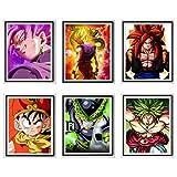 MS Fun Ultra Dragon Ball Anime Fabric SSJ Gohan Goku Perfect Cell Legend Fighter Broli Ullustration Picture Original Wall Poster Art Prints, 8 x 10 pulgadas, sin marco, juego de 6