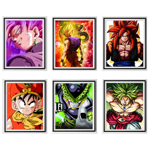 MS Fun Ultra Dragon Ball Anime Fabric SSJ Gohan Goku Perfect Cell Legend Fighter Broli Ullustration Picture Original Wall Poster Art Prints, 8 x 10 pulgadas, sin marco, juego de 6