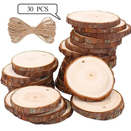 Rodajas de Madera Círculos 6-7 cm 30 pcs TICIOSH Discos de Madera Rebanada 10m Cuerda de Cáñamo Maderas Naturales Perforado Con Corteza de Árbol Para Manualidades