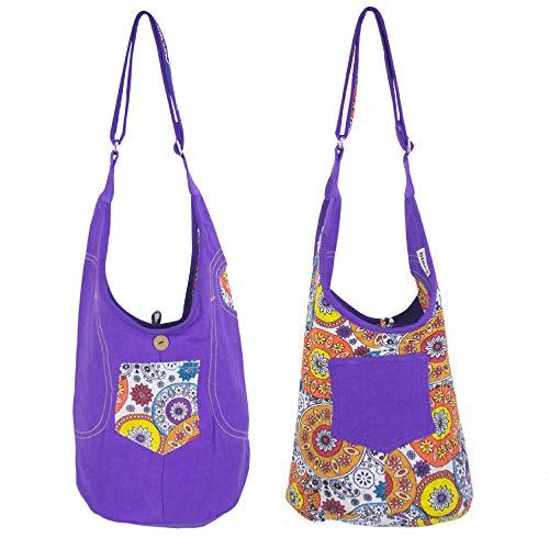 Sunsa Kinder Tasche Umhängetasche klein Kindergartentasche Mädchen Geburtstag Geschenk kleine Kindertasche Hobo bag Schultertasche lässig sale Stoffbeutel Kinder Geschenke aus Canvas/Stoff lila