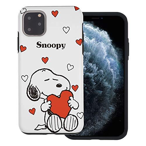 """iPhone 11 ケース と互換性があります Peanuts Snoopy ピーナッツ スヌーピー ダブル バンパー ケース デュアルレイヤー 【 アイフォン 11 ケース (6.1"""") 】 (スヌーピー 大きな愛 白) [並行輸入品]"""