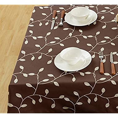 Tina Cotton Linen Tablecloth Leaf Embroidered Table Cover for Dinner Kitchen Coffee, 60 x120