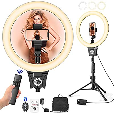 "12""Selfie Ring Light with Adjustable Tripod Stand Holder for Live Stream, YouTube Video, Makeup, Dimmable LED Camera Ring Light & 3 Light Modes & 30 Brightness Levels, Compatible with iPhone/Android by LBell"
