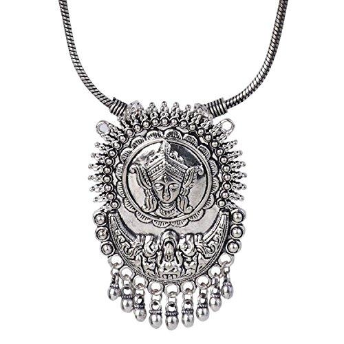 Efulgenz Boho Vintage Antique Ethnic Gypsy Tribal Indian Oxidized Silver Statement Religious Tassel Pendant Necklace Jewelry