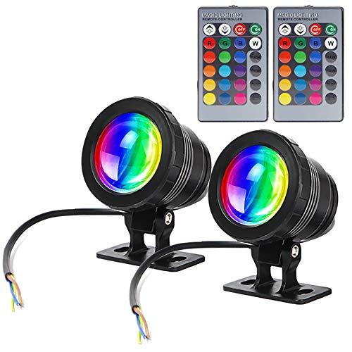 GOESWELL Iluminación LED subacuática para estanque, iluminación exterior, 12 V CC, 10 W, fuente al aire libre con mando a...
