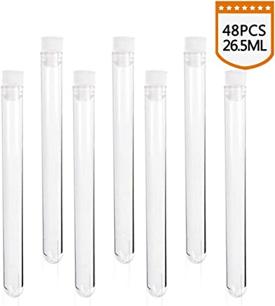 Superlady 48pcs 16x150mm clear plastic test tube with caps for scientific experiments, party, decorate the house, candy storage