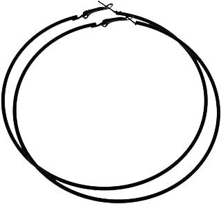 低刺激性Extra Large Flattenedラウンドメタルフープイヤリング ブラック