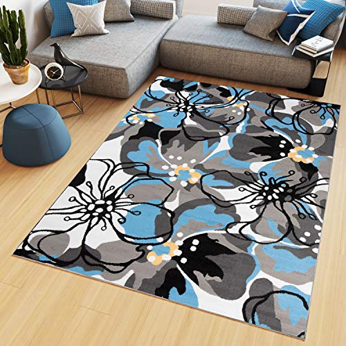 TAPISO Maya Tappeto Salotto Moderno Soggiorno Blu Beige Fiori Floreale A Pelo Corto 200 x 300 cm