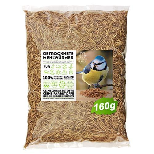 Thompson&Wood Mehlwürmer getrocknet 1 Liter (entspricht 160g), optimales Zusatz Futter für Reptilien, Fische, Vögel & Co.