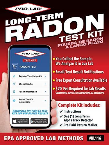 PRO-LAB Long Term Radon Test Kit - The PRO-LAB Long Term Radon Test Kit For Home is EPA Approved - Easy To Use Long Term Radon Test - Uses Alpha Track Long Term Radon Test Technology
